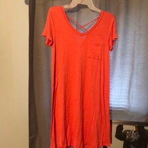 Coral straps tee-shirt dress